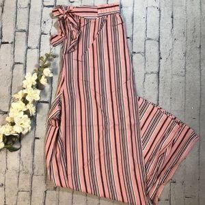 striped pants w/ tie waist